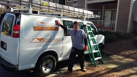 Attic Kings van at a work site